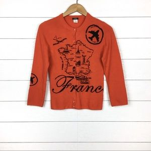 J.Crew France Map Cardigan Orange Rare